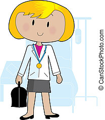 Doctor Female - Young doctor standing with her bag in a...