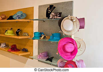 Hat shop - Gone shopping, shop with lots of hats on the...