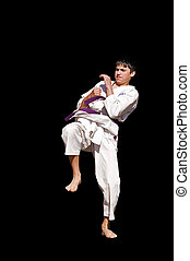 karate training - young karateka training, isolated on...