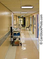 hospital hallway - trolley with supplies on the hospital...