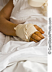 Hurting hand - Healthcare wounded hand, bandages, woman in...