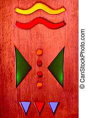 tribal art - native American, Indian, abstract designs, wood...