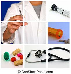 médico, colagem