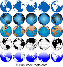Global Earth Map Set 5x5 - 25 global views, variations of...
