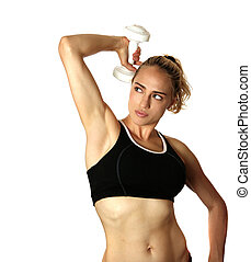 Caucasian Woman Working Out on White Background