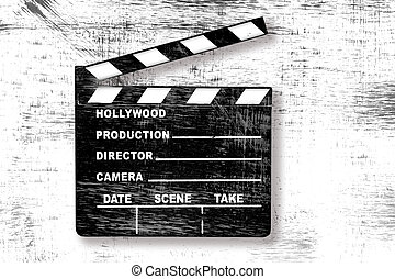 Grunge Movie Clapper Board - Grunge Old Used Movie Clapper...