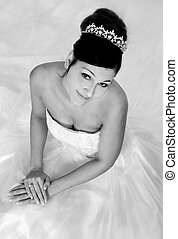 Black and White Bridal Portrait - Portrait of a Bride in...