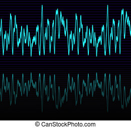audio wave - image of a glowing audio or sine wave with...