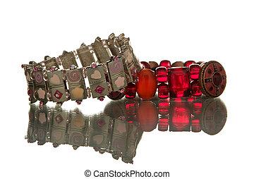 bracelets isolated over white background