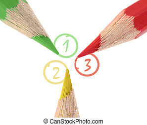 Three important items - Close-up of three colored pencils...