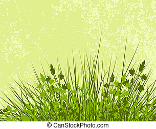 Meadowy - Illustration of grassy vegetation with grunge