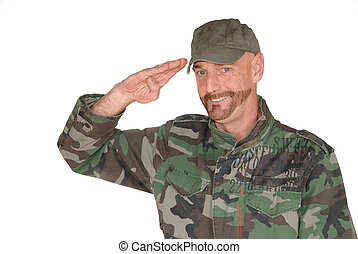 Saluting soldier - Attractive bearded middle aged smiling...