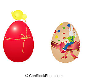 two easter eggs - Two easter eggs with chicken and bunny....