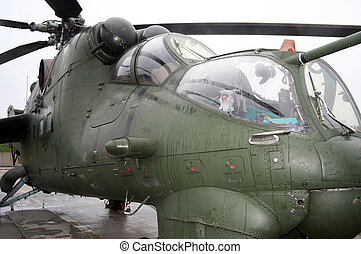 Gunship - Close - up of front MI-24 russian military...