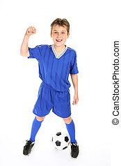 Soccer champ - A boy in soccer jersey and shorts with fists...
