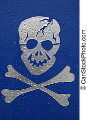 Skull - Silver skull and crossbones on blue background