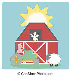 Farm graphic including, barn,sheep,chicken,tractor and a...