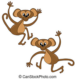 Two monkey graphic illustration.