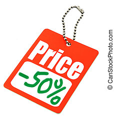 Half price tag - close-up of a Sale tag against white, no...