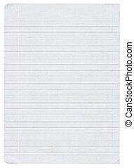 lined paper - piece of lined paper isolated on pure white...