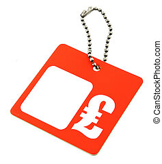 Price tag GBP symbol - Price tag with copy space for price...
