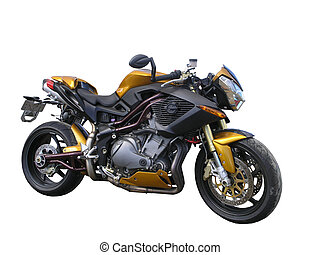 Gold Benelli Motorbike - A gold Benelli motorbike isolated...