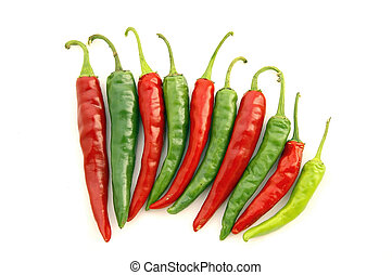 Red and Green Hot Chili Pep - Isolated closeup of ten 10...