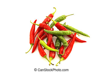 Red and Green Chili Peppers - Isolated closeup of a pile of...