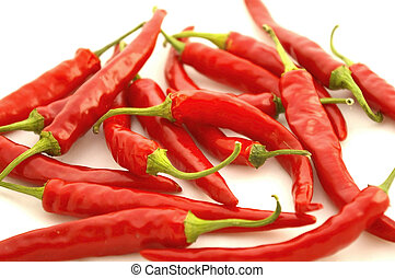 Red Hot Chili Peppers - Isolated closeup of a pile of ripe...