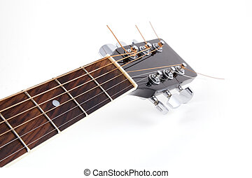 Acoustic guitar\\\'s neck on white