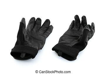 Baseball batter gloves - Black leather baseball batter...