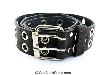 Black leather belt - Black studded leather belt with metal...