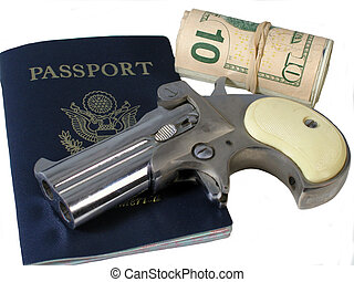 Spy Tools is a photo of a passport,a roll of money, and a...