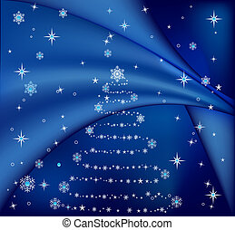 Christmas tree - Blue Christmas tree, vector illustration