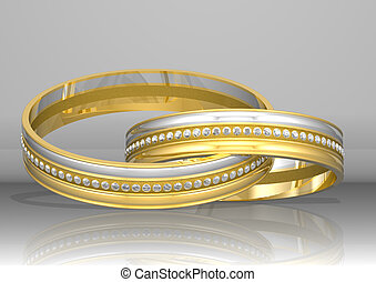 3d rendering two golden rings with diamonds