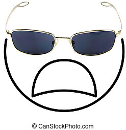 Crying smiley face composed of a sunglass as eyes and the...
