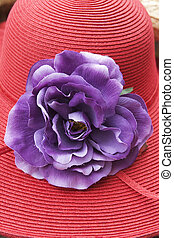 Retro ladys hat with fabric flower decoration - close up