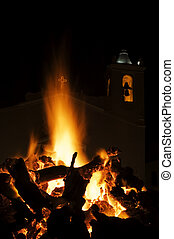 Bonfire - Big festive fire in a square at a portuguese...