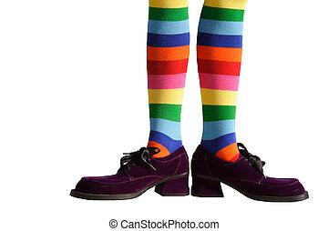 clown, pieds, isolé