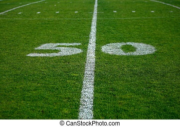 Fifty yards - Photo of the fifty yards line on a football...