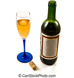 wine and glass - bottle of wine and glass isolated over...