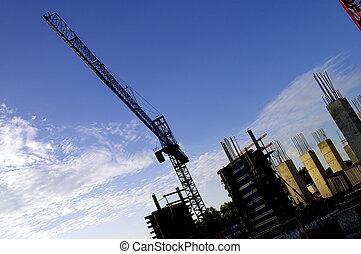 Construction Site Crane - A construction crane on a highrise...