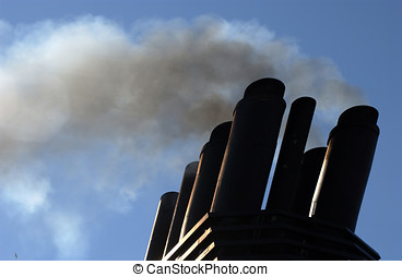 Exhaust smoke ship - Diesel exhaust smoke emissions from...