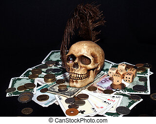 addiction - cards, money, dices, coins and a skull with the...