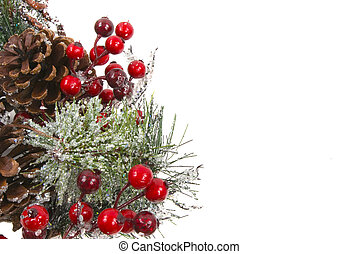 Christmas Decoration - Pine branch with berries, ornaments,...