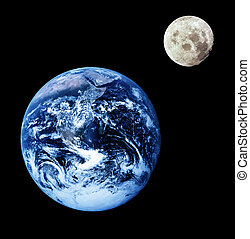 Earth and Moon - Composite image of earth and moon. Moon...