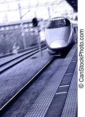 Shinkansen - High speed bullet train in Japan in purple...