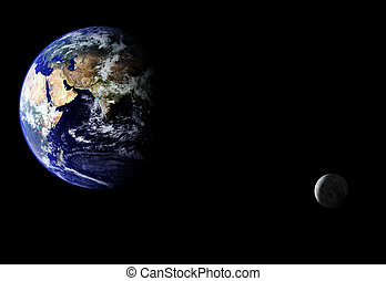 Orbiting Earth - Composite image of earth and moon. Moon...
