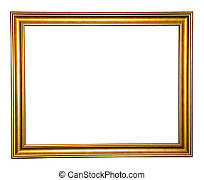 old wooden frame isolated on white background with clipping...