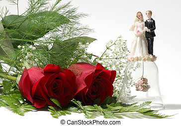 Love - Photo of Red Roses and a Wedding Ornament - Love...